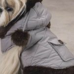 Black quilted jacket with embroidered pink diamonds for dogs
